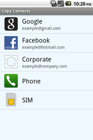 Copy Contacts Android