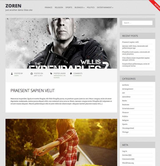 Descargar tema para Wodrpress Zoren