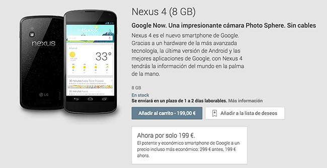 telefono nexus 4 por 199 dolares o euros